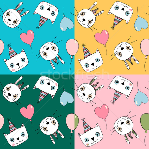 Cute vector set with colorful seamless patterns with bunnies and kitties Stock photo © Pravokrugulnik