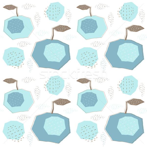 Soyut geometrik desen mavi kahverengi renkler kumaş Stok fotoğraf © Pravokrugulnik