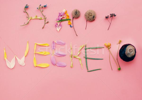 幸せ 週末 単語 ピンク 木製 文字 ストックフォト © Pravokrugulnik