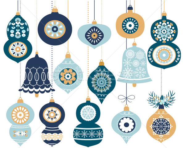 Establecer azul retro Navidad adornos colgante Foto stock © Pravokrugulnik