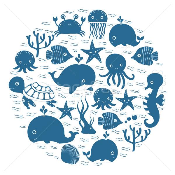 Sevimli mavi karikatür deniz hayvanları daire bebek Stok fotoğraf © Pravokrugulnik