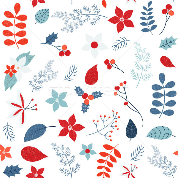Vector holiday seamless pattern with winter foliage  Stock photo © Pravokrugulnik