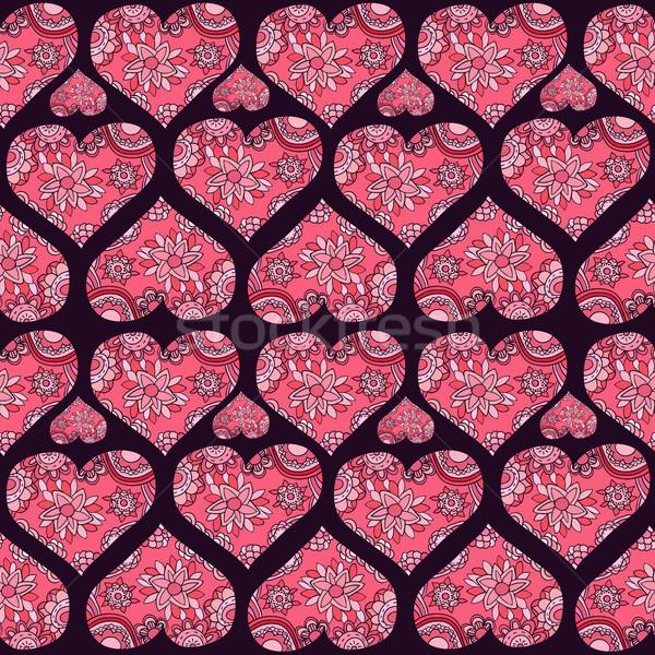 Ethnic vector seamless pattern with floral ornamental hearts Stock photo © Pravokrugulnik