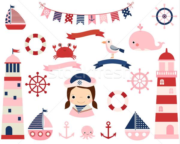 Pink girl nautical vector set with lighthouses, boats  Stock photo © Pravokrugulnik