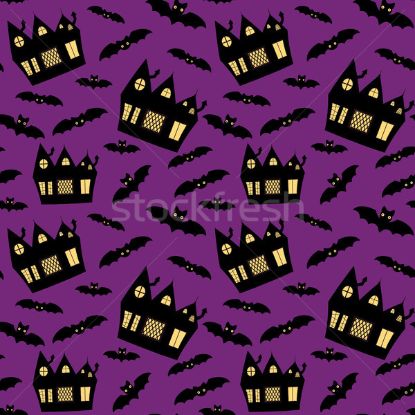 Vector seamless pattern for Halloween with haunted houses and bats on purple background Stock photo © Pravokrugulnik