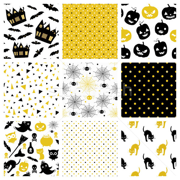 Gold and black elegant vector seamless pattern designs for Halloween greeting cards, invitations and Stock photo © Pravokrugulnik