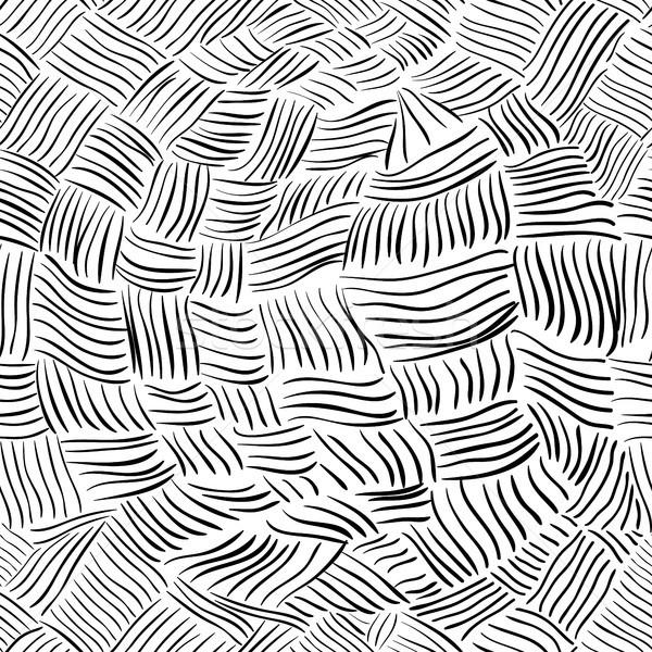 Vektor végtelen minta feketefehér kézzel rajzolt vonalak modern Stock fotó © Pravokrugulnik