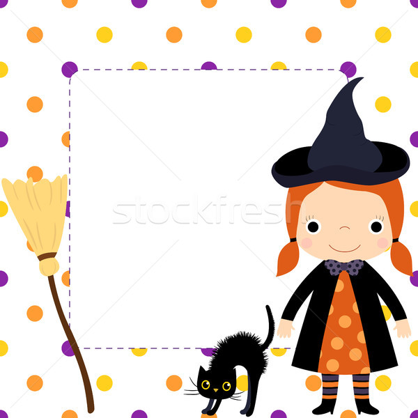 Cute square vector border with cartoon girl in witch costume Stock photo © Pravokrugulnik