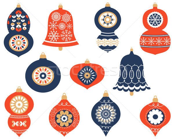 Navidad retro moderna adornos saludo tarjetas Foto stock © Pravokrugulnik