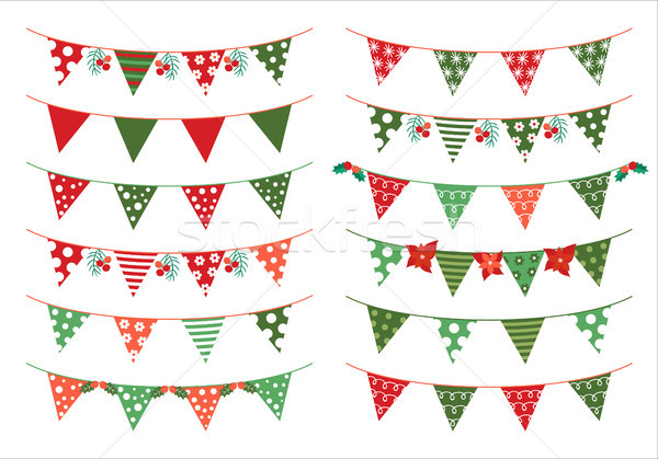 Christmas vector triangle bunting flags in green and red colors  Stock photo © Pravokrugulnik