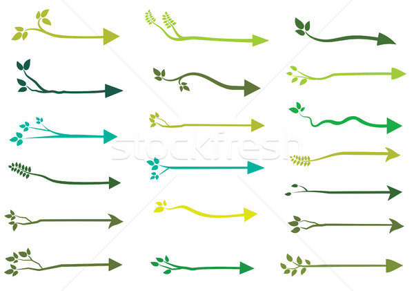Stockfoto: Groene · vector · boom · pijl · silhouetten · organisch