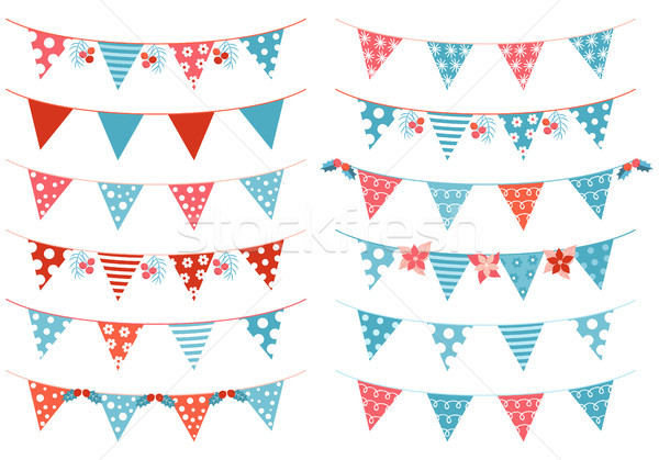 Christmas vector triangle bunting garland in blue and red colors Stock photo © Pravokrugulnik