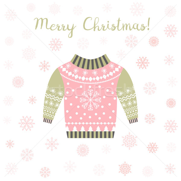 Pink and green vector ugly Christmas sweater greeting card Stock photo © Pravokrugulnik
