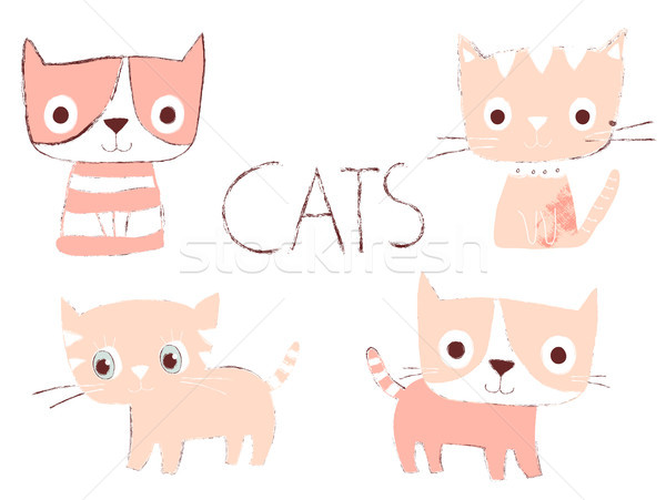 Stock photo: Set of cute hand drawn pink cats in flat style