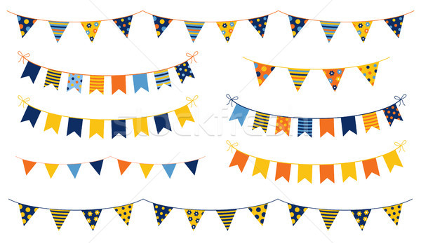 Festive and cheerful vector buntings with colorful flags Stock photo © Pravokrugulnik
