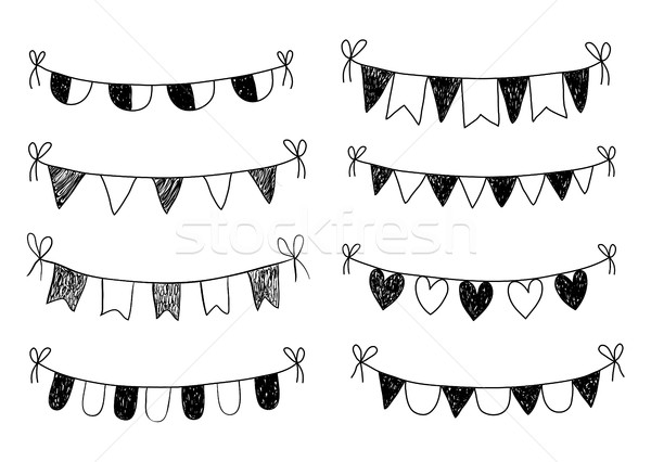 Black doodle bunting on white background with flags Stock photo © Pravokrugulnik