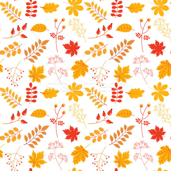 Stock photo: Autumn vector seamless pattern with colorful leaves and twigs