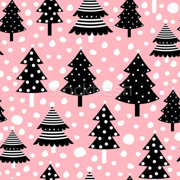 Stockfoto: Christmas · zwarte · bomen · roze · boom
