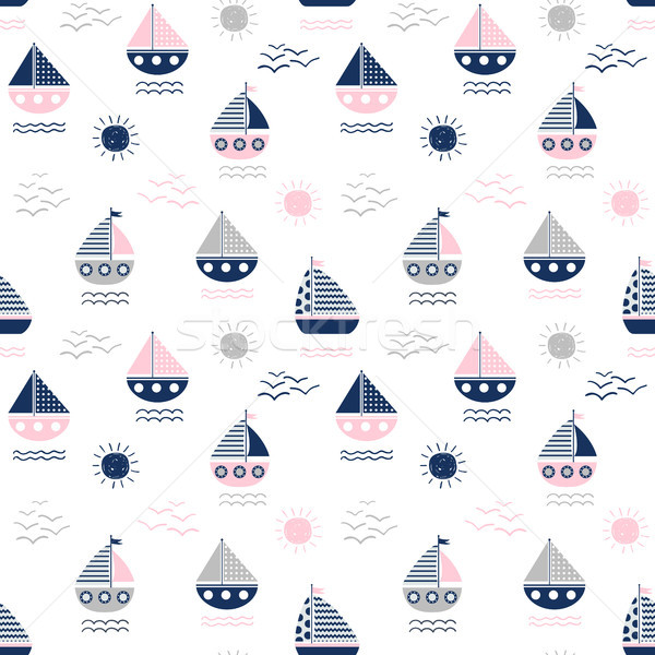 Cute vector seamless pattern with boats, waves and suns in pink Stock photo © Pravokrugulnik