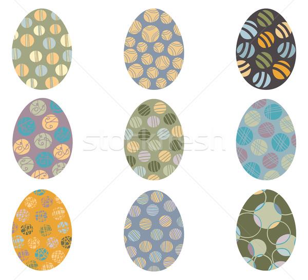 Vetor ovos de páscoa abstrato padrões textura projeto Foto stock © Pravokrugulnik