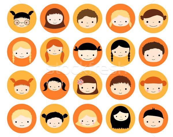 Stock fotó: Aranyos · gyerekek · arc · körök · stílus · lányok