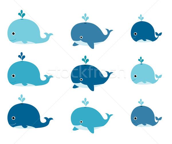 Bonitinho vetor conjunto azul desenho animado convites Foto stock © Pravokrugulnik
