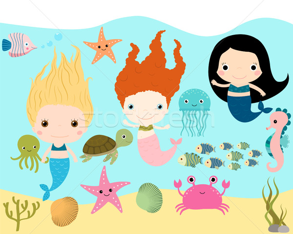 Bonitinho animais marinhos vetor coleção menina mar Foto stock © Pravokrugulnik