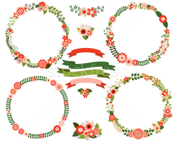 Flower wreath borders in red and green colors Stock photo © Pravokrugulnik