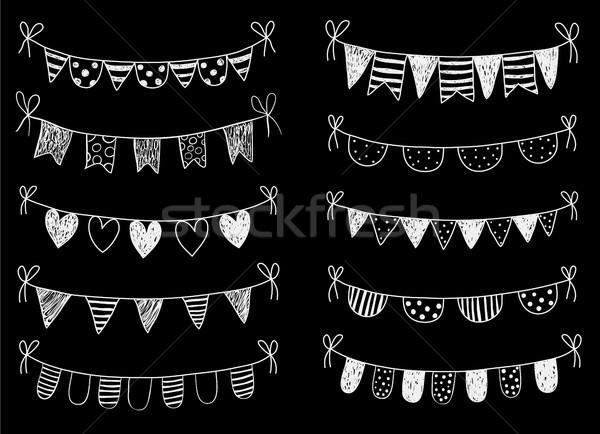 Vector set with chalkboard hand drawn doodle buntings  Stock photo © Pravokrugulnik