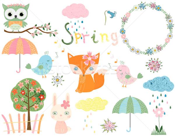 Bonitinho coleção primavera verão animais projeto Foto stock © Pravokrugulnik