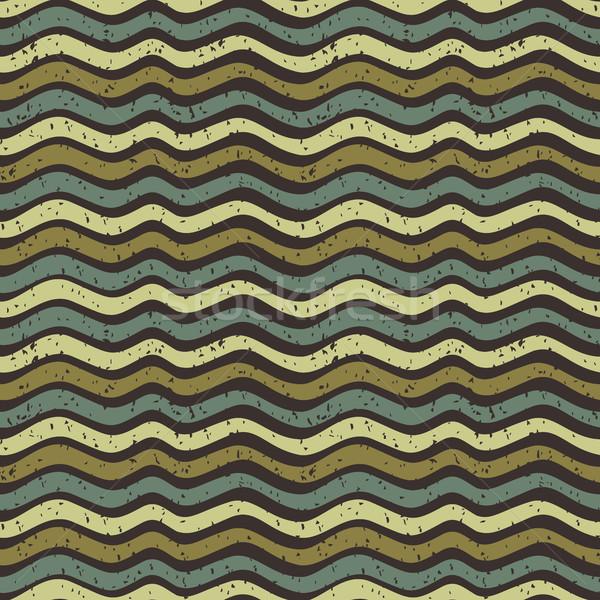 Végtelenített vektor hullámos minta barna zöld Stock fotó © Pravokrugulnik