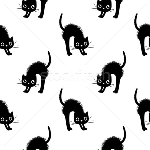 Stock photo: Cute and modern seamless vector pattern with black cats