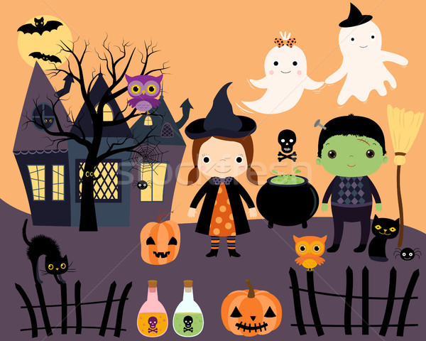 Halloween vector set of characters and elements in flat style Stock photo © Pravokrugulnik