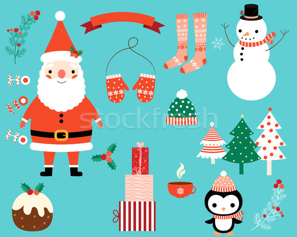 Christmas vector characters and design elements set  Stock photo © Pravokrugulnik