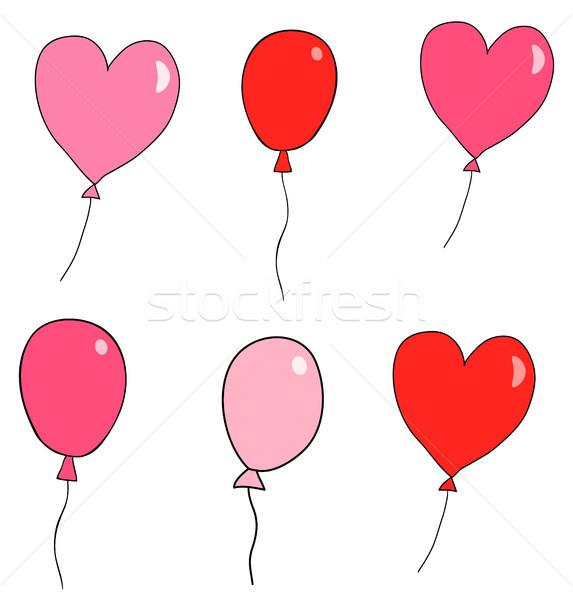 Stockfoto: Cute · vector · ballonnen · groet · kaarten