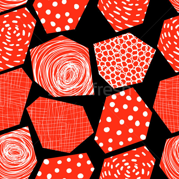Abstract vector seamless pattern with red textured polygons Stock photo © Pravokrugulnik