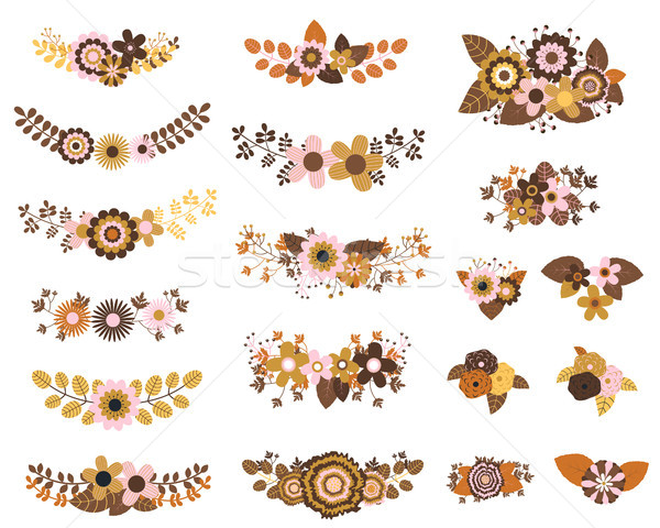 Brown and ochre vector floral bunches with flowers, leaves  Stock photo © Pravokrugulnik