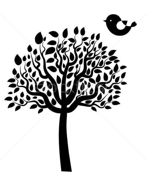 Photo stock: Vecteur · noir · arbre · silhouette · laisse · oiseau