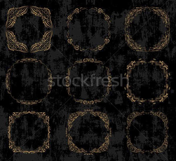 Vektör ayarlamak altın kareler Stok fotoğraf © Pravokrugulnik