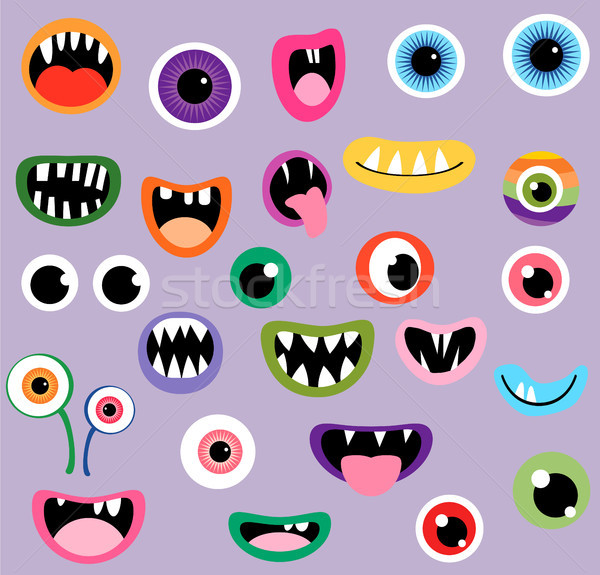 Monster mouths and eyes, fun vector graphic design elements  Stock photo © Pravokrugulnik