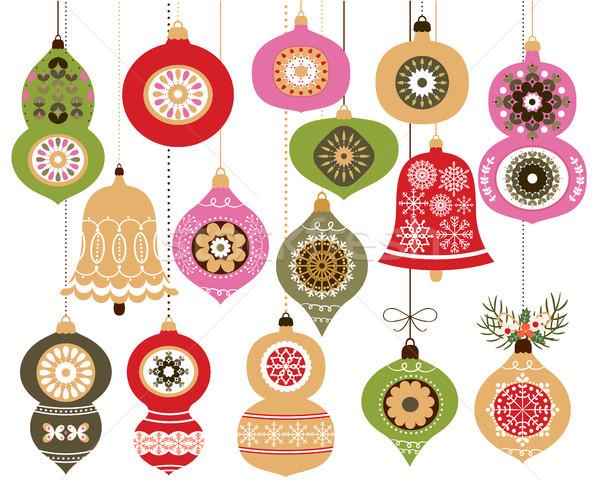 Karácsony díszek szett akasztás dekoráció piros Stock fotó © Pravokrugulnik