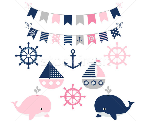 Vector sailing set - whales, anchor, wheel, boats and buntings Stock photo © Pravokrugulnik