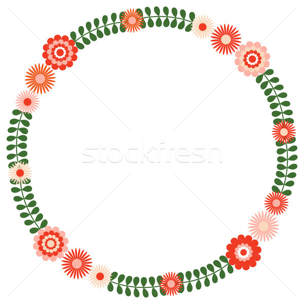 Round floral wreath with green leaves and pink and red flowers Stock photo © Pravokrugulnik