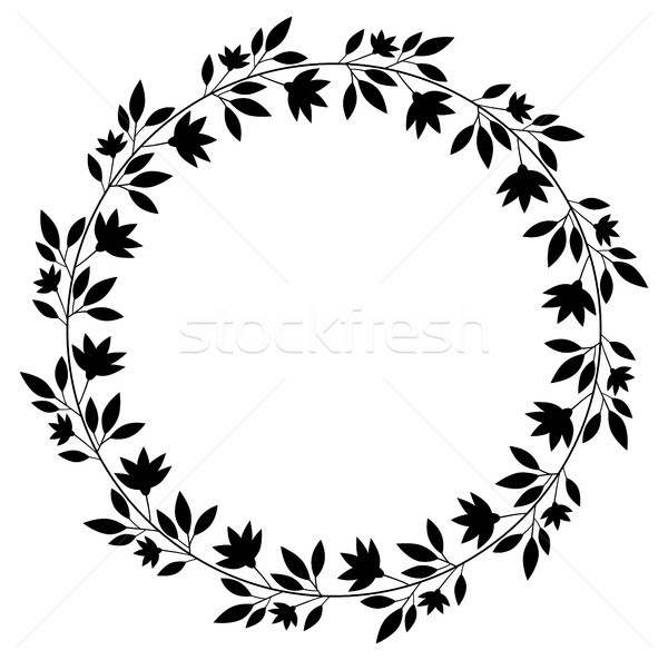 Virágmintás vektor koszorú fekete keret grafikai tervezés Stock fotó © Pravokrugulnik