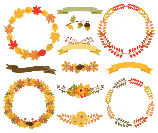 Fall Wreaths and ribbons set Stock photo © Pravokrugulnik