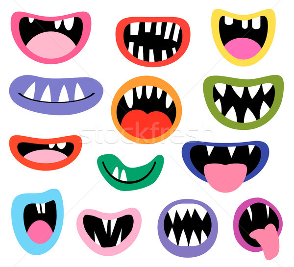 Funny vector monster mouths, open and closed Stock photo © Pravokrugulnik