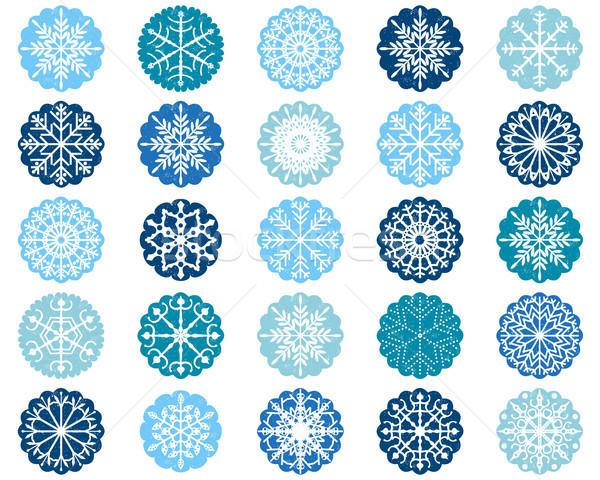 Bianco fiocco di neve design ornamenti blu Foto d'archivio © Pravokrugulnik