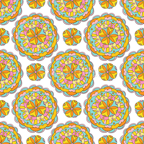 Vector ethnic seamless pattern with flower mandALA ornaments in bright pink and yellow colors. Geome Stock photo © Pravokrugulnik