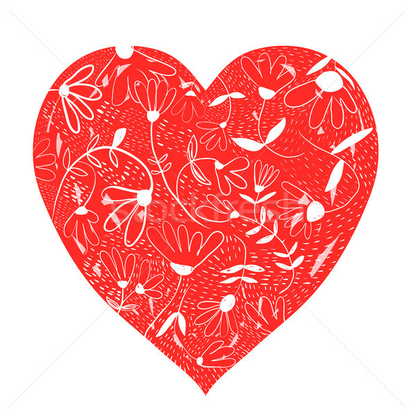 Vector floral heart in white and red colors for greeting cards Stock photo © Pravokrugulnik