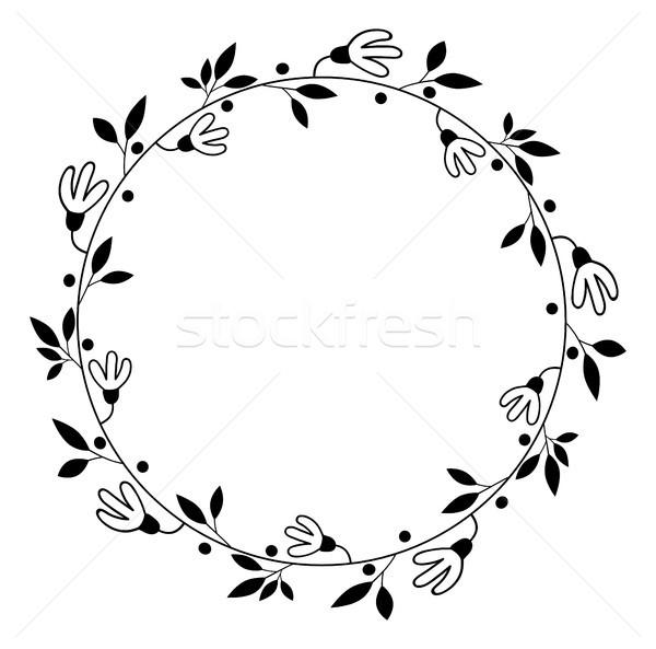 Round vector floral wreath black flower border vector illustration add to lightbox download comp stopboris Gallery